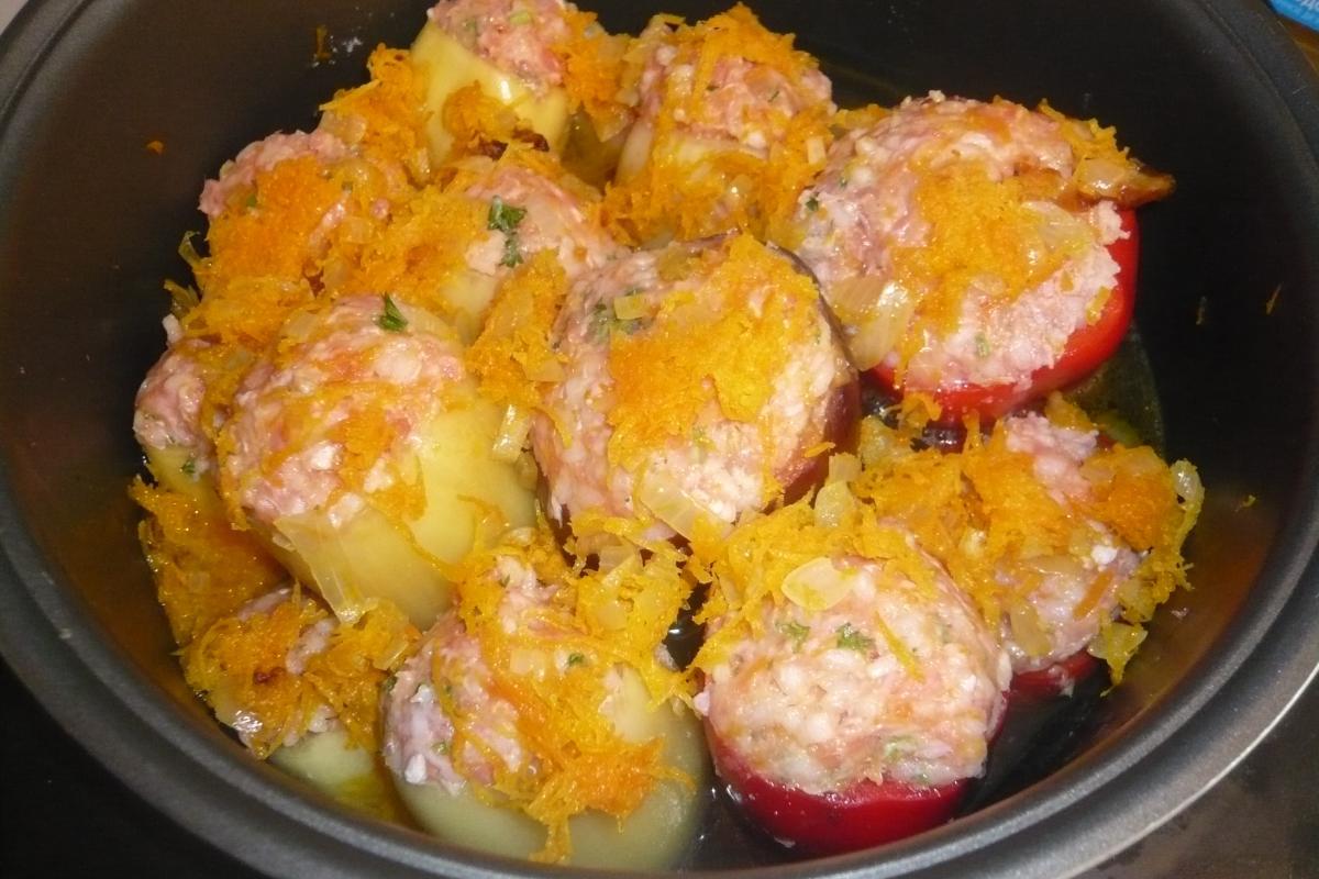 Фаршированные овощами перцы в мультиварке рецепт с фото