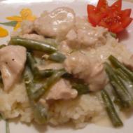 """Фото рецепта """"Филе куриное со стручковой фасолью в нежном соусе"""""""