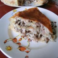Фото рецепта: Пирог из лаваша с курой и грибами в мультиварке